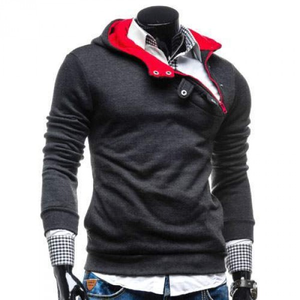 hoodie fashion sweat pull capuche homme trendy 2016 gris fonce rouge. Black Bedroom Furniture Sets. Home Design Ideas