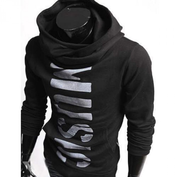 Hoodie Sweat Sport Homme Fashion Col haut track design noir