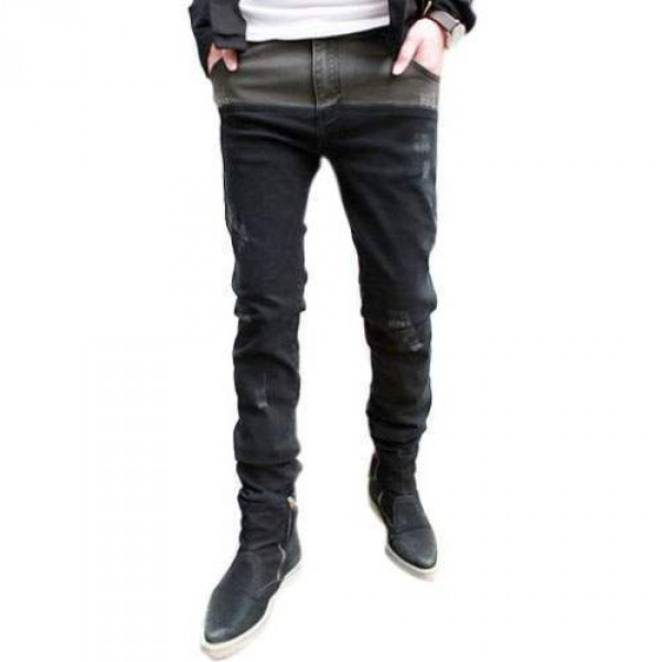 Jean Denim Slim Ajuste Fashion Ripped Use Noir Gris bicolore Grunge