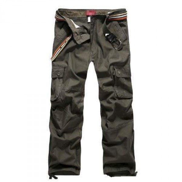 Pantalon Homme Cargo Essential Men Fashion Poches Militaire Vert