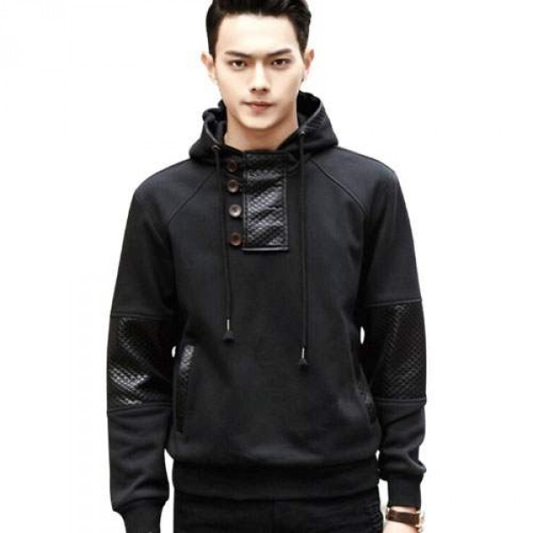 Pull capuche Homme Sweat Shirt Fashion empiecements trendy