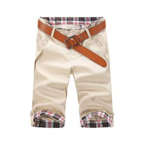 Short Bermuda Homme Fashion Slim Fit Sport Casual Beige
