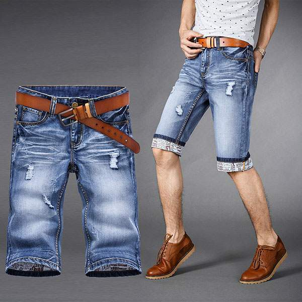 Short Bermuda Homme en Jean Denim Urban Ripped Casual Bleu clair Moyen