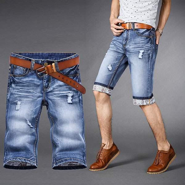 short bermuda homme en jean denim urban ripped casual bleu. Black Bedroom Furniture Sets. Home Design Ideas