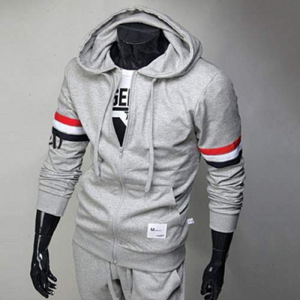 Sweat a capuche Hoodie Homme Fashion Sport Bande tricolore Gris