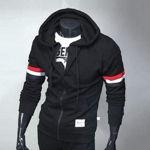 techniques modernes amazon nouvelle saison Sweat a capuche Hoodie Homme Fashion Sport Bande tricolore Noir