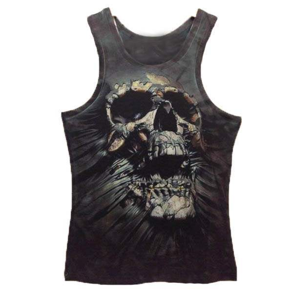 T-shirt Debardeur effet 3d SKULL Style tete de mort Rock Tatoo Swag Men Fashion