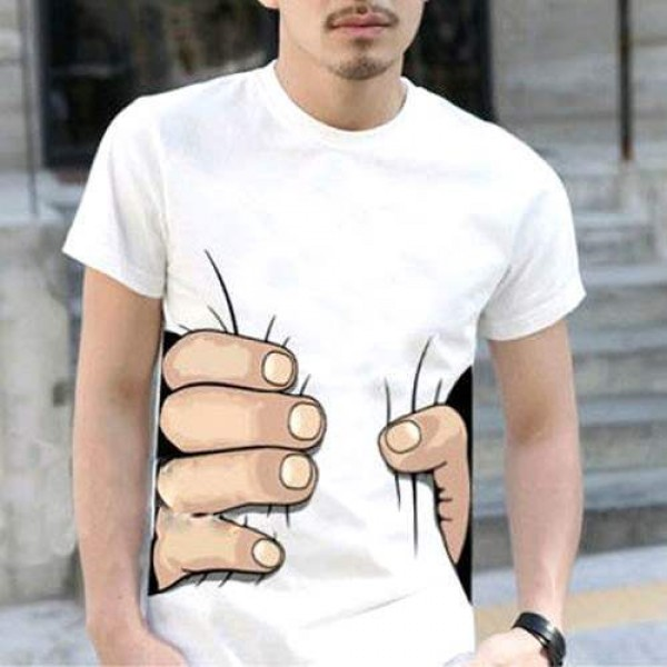 T-shirt manches courtes Illusion d'optique Grande main Fashion Cool