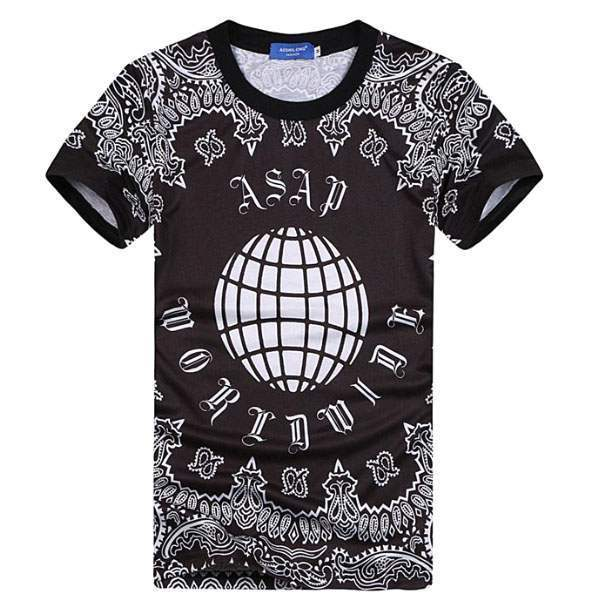 T-shirt à manches courtes Casual Unisex Fashion Hip hop ASAP Worldwide Noir