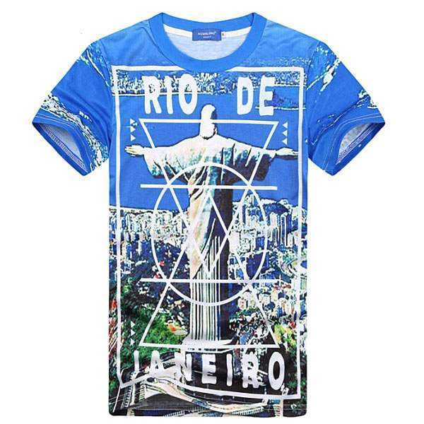 T-shirt à manches courtes Casual Unisex Fashion Hip hop Rio Print