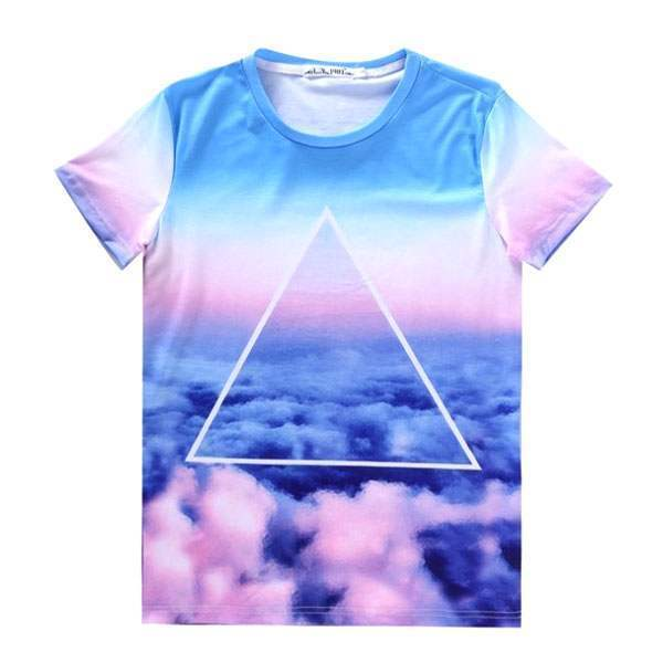 T-shirt à manches courtes Casual Unisex Fashion Hip hop Hipster Ciel Indie Nuages print