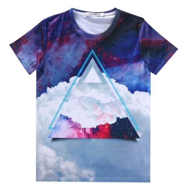T-shirt à manches courtes Casual Unisex Fashion Cool Hipster Swag Nuages Print