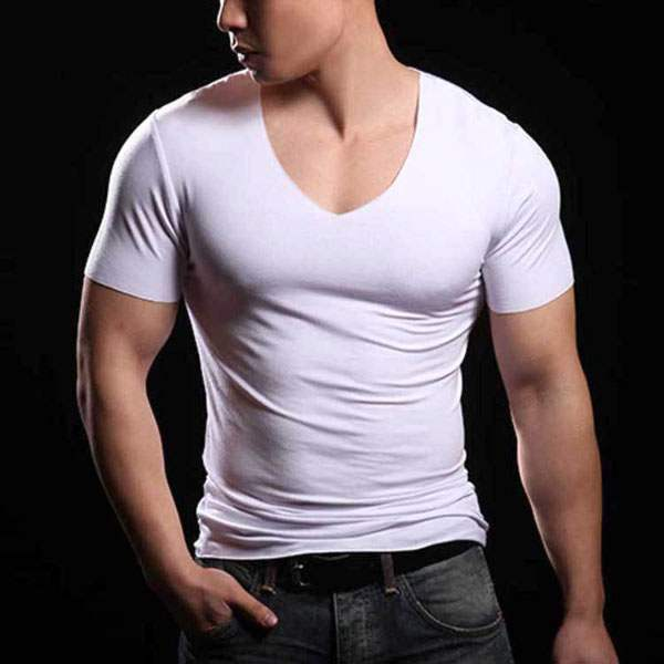 T-shirt à manches courtes Slim Fit Sexy Fitted Couture Musculation Col V Blanc