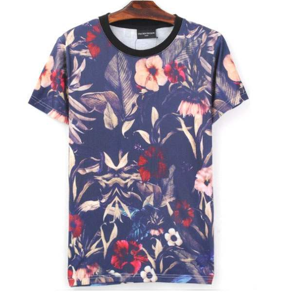 T-shirt à manches courtes Casual Fashion Fleurs Flower Tropical Summer