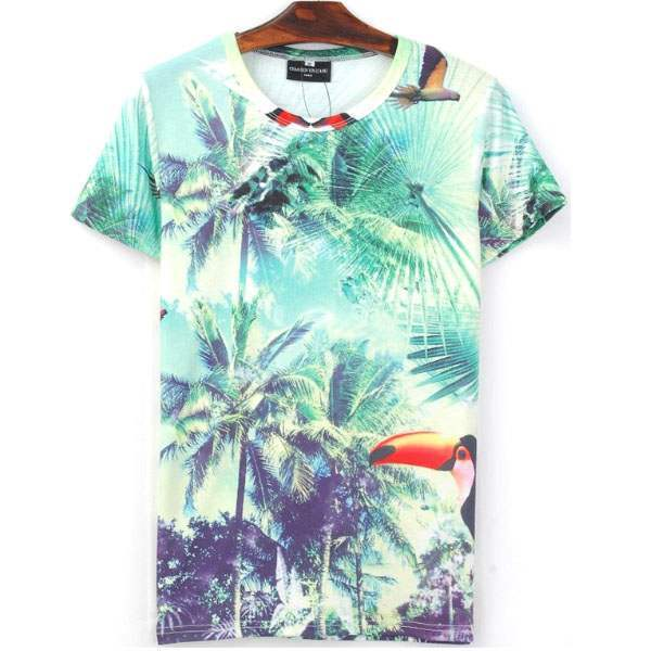 T-shirt à manches courtes Casual Fashion Palms Print Tropical Summer