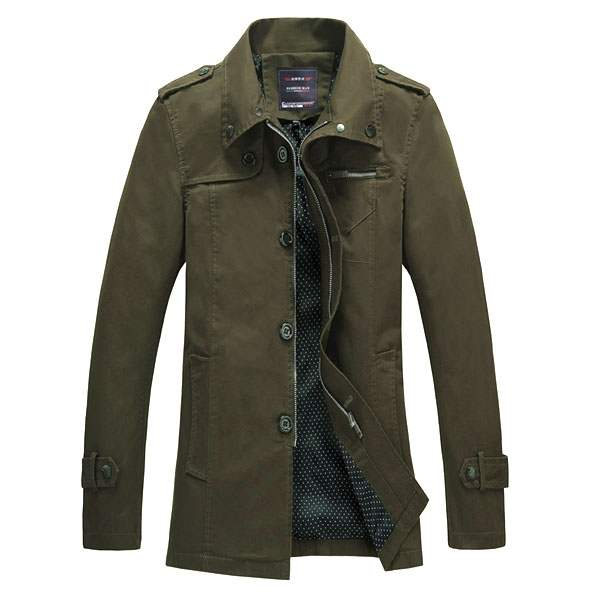 Trench Homme Fashion British Style Impermeable coat Vert
