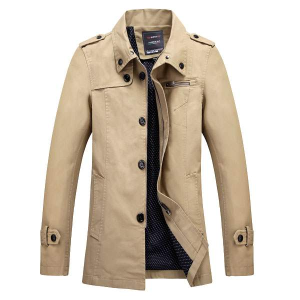 trench homme fashion british style impermeable coat beige clair. Black Bedroom Furniture Sets. Home Design Ideas