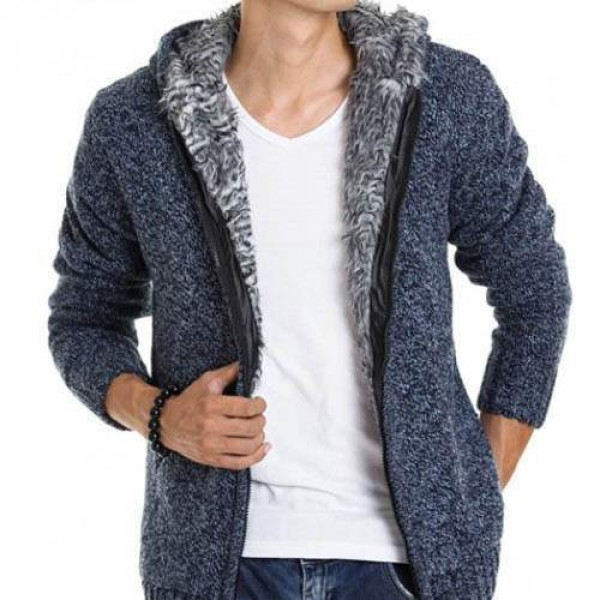 veste capuche fashion esprit gilet chaud homme fourrure coton laine bleu. Black Bedroom Furniture Sets. Home Design Ideas