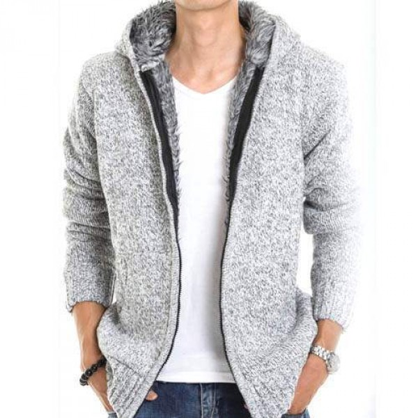 veste capuche fashion esprit gilet chaud homme fourrure coton laine gris clair. Black Bedroom Furniture Sets. Home Design Ideas