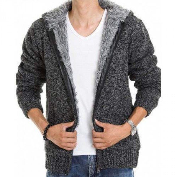 veste capuche fashion esprit gilet chaud homme fourrure coton laine gris fonce. Black Bedroom Furniture Sets. Home Design Ideas