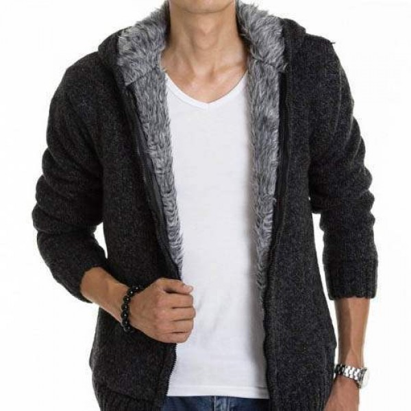 veste capuche fashion esprit gilet chaud homme fourrure coton laine noir. Black Bedroom Furniture Sets. Home Design Ideas
