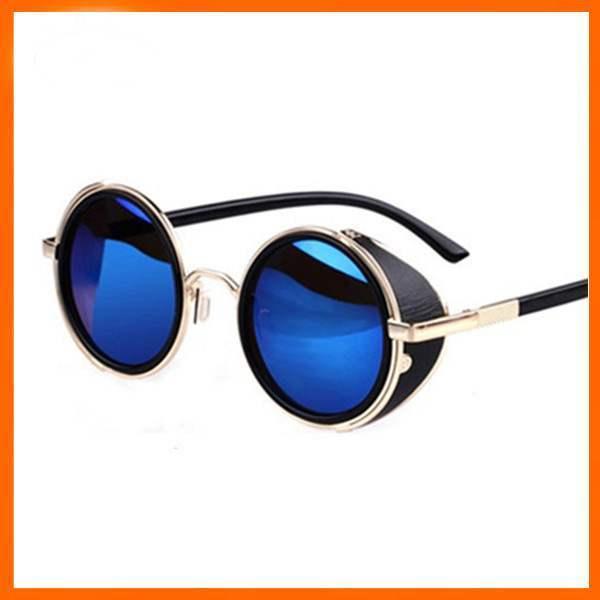 Lunettes de soleil Retro Rondes Leon Daredevil Fashion Sunglasses Bleues Blue