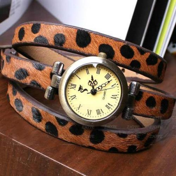 Montre Cuir Watch Bracelet Wrap Leopard Skin Brown Marron Glam Chic
