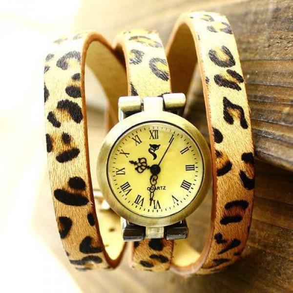 Montre Cuir Watch Bracelet Wrap Leopard Skin Beige Glam Chic
