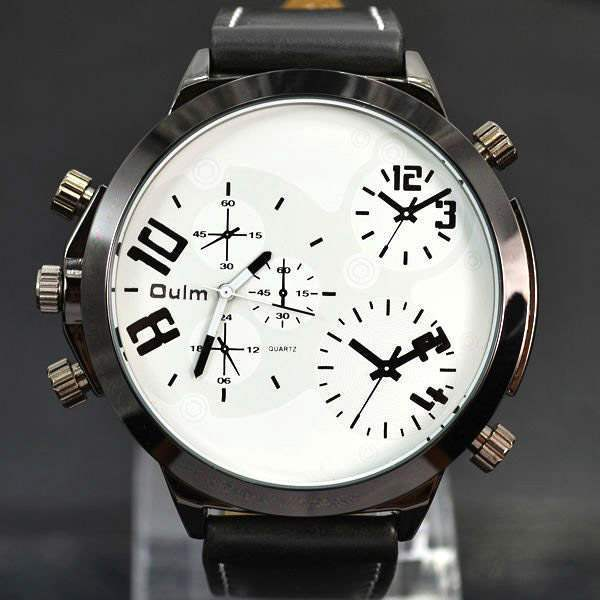 Montre homme Fashion men watch black chic False three dial outdoor Sport Class Blanc