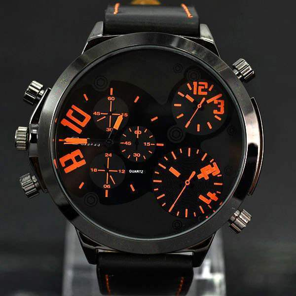 Montre homme Fashion men watch black chic False three dial outdoor Sport Class Orange Noir
