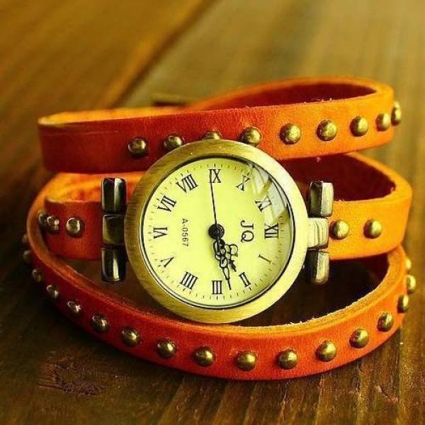 Montre watch Wrap Bracelet Cuir Studded clous Orange Camel leather