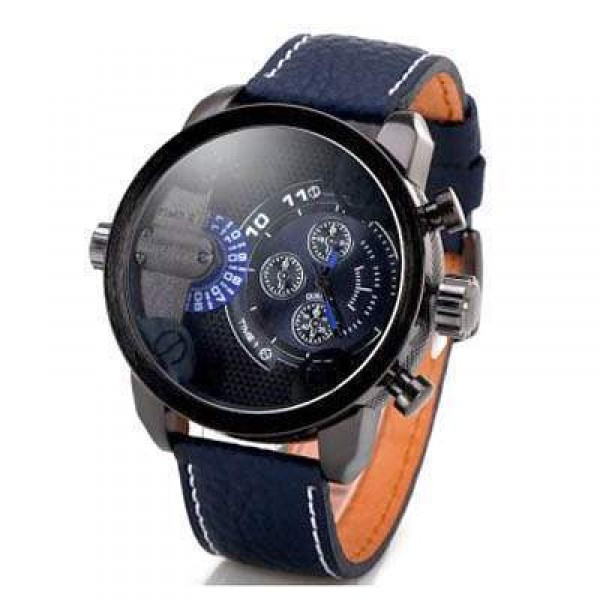 Montre homme Fashion men watch Grand Cadran Cuir Sport Class Bleu