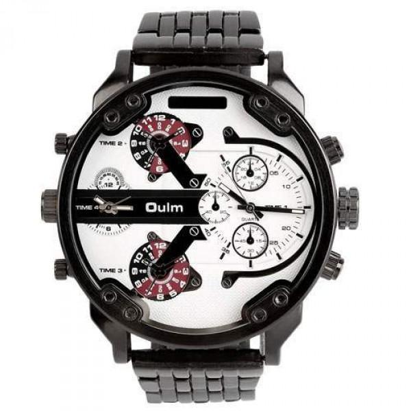 Montre homme Fashion Men watch Grand cadran Luxury design sport Class noir blanc