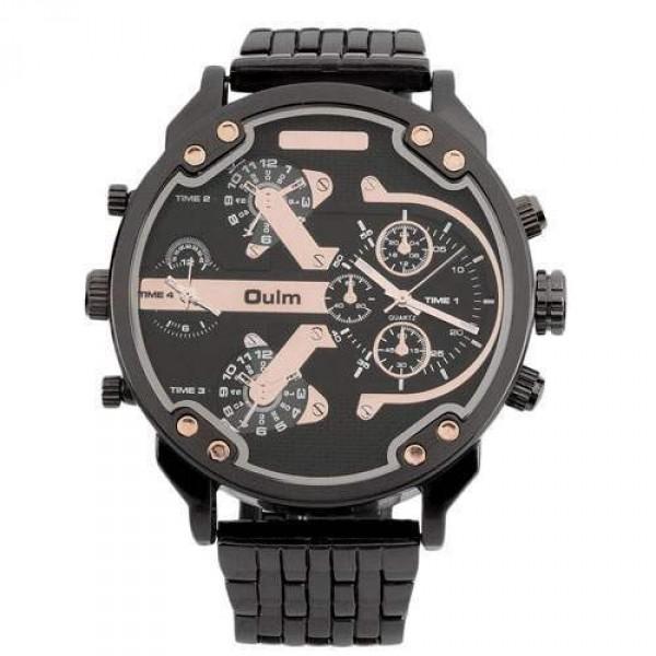 Montre homme Fashion Men watch Grand cadran Luxury design sport Class noir rose