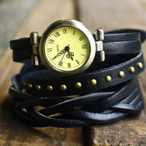 Montre Watch Wrap Bracelet Cuir Tressée Studded Clous leather chic Noir
