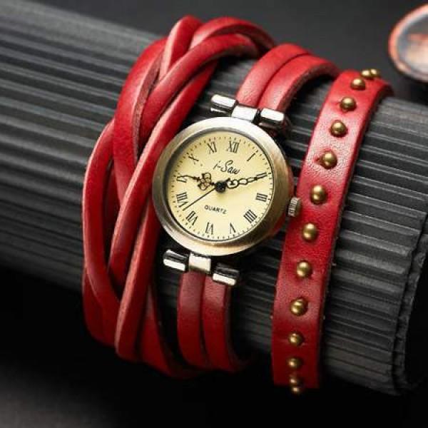 Montre Watch Wrap Bracelet Cuir Tressée Studded Clous leather chic Rouge
