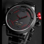 Montre homme Fashion Sport Analogique Stainless Men Outdoor Steel Luxe Watch Noir Rouge