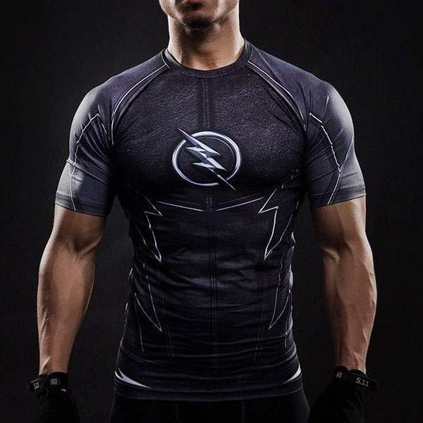 T Shirt Compression homme Musculation The Flash ZOOM 3D musculation