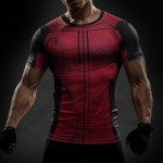 T Shirt Compression homme Red Musculation Super Hero fashion musculation