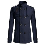 Trench Veste Caban Warm Homme Chic Classique Elegance Bleu fonce