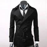 Trench Homme Style Anglais Classique Mi-long Elegant Noir
