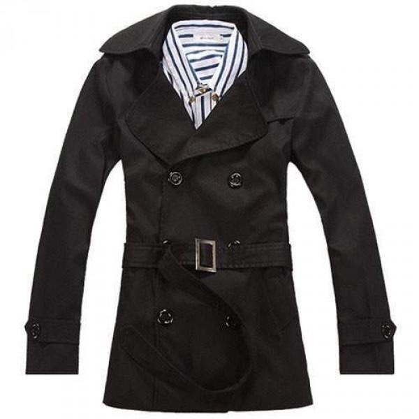 Trench Homme Style Anglais Classique Mi Long Elegant Noir