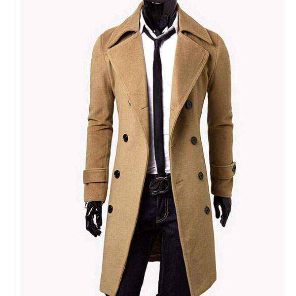 Veste Caban Trench Homme Long cintre Fitted Fashion Elegant Beige