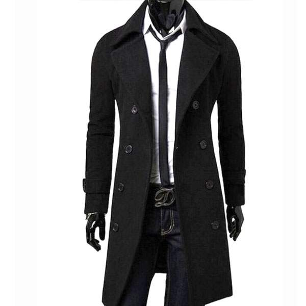 Veste Caban Trench Homme Long cintre Fitted Fashion Elegant Noir