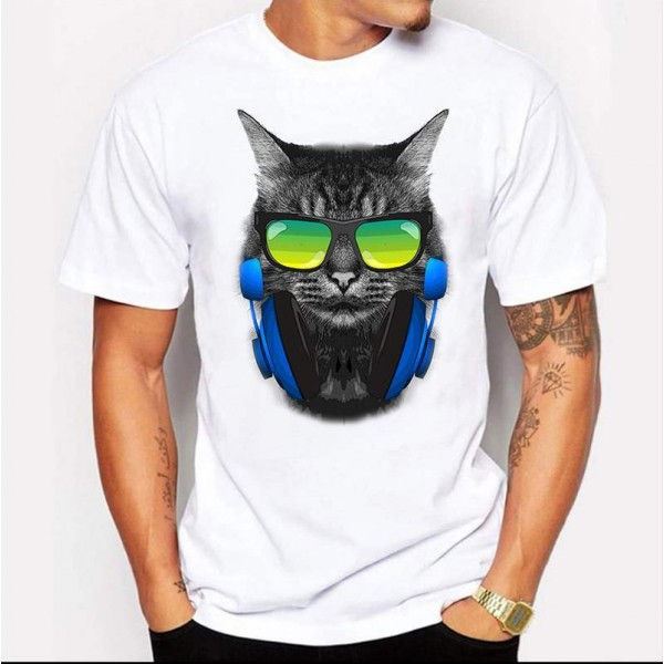 T-shirt Blanc Imprime Chat DJ Mix