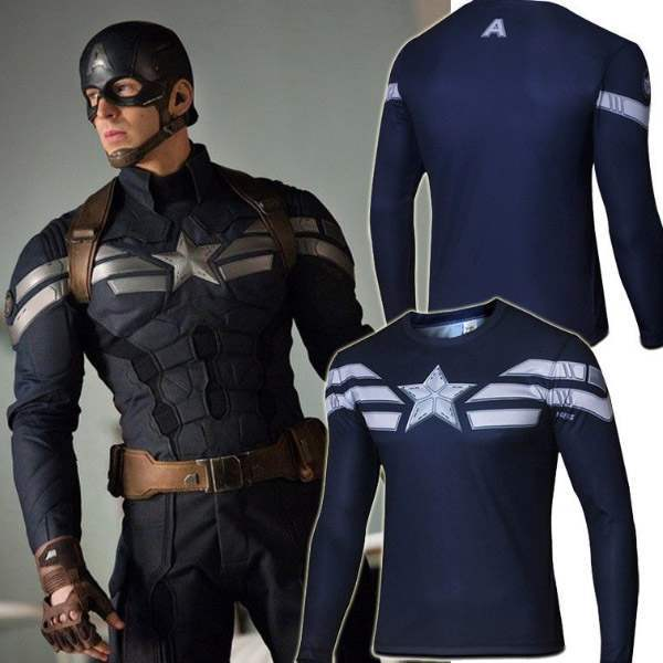 t shirt compression homme captain america musculation fashion workout manches longues. Black Bedroom Furniture Sets. Home Design Ideas