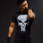 T Shirt Compression homme Musculation 3D Skull