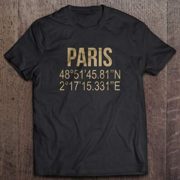 T-shirt Noir Imprime Paris Coordonnées GPS