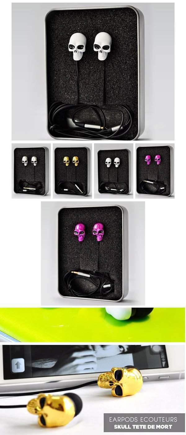 ecouteurs earpods mp3 player phone 3 5mm tete de mort. Black Bedroom Furniture Sets. Home Design Ideas