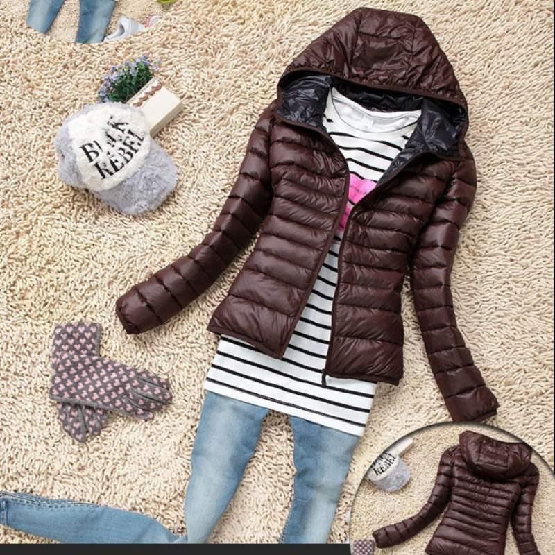doudoune femme capuche fashion parka chic fine coat marron. Black Bedroom Furniture Sets. Home Design Ideas